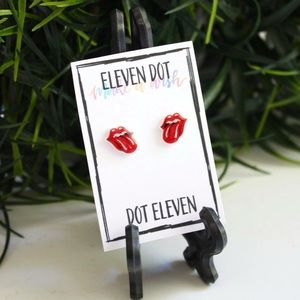 The Rolling Stones Red Tongue Lip Band Earrings